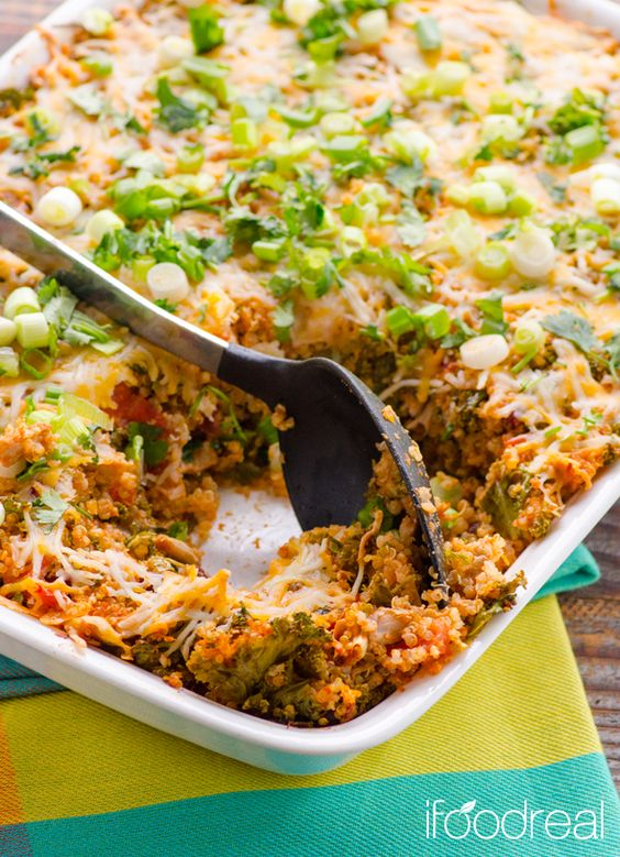 Chili Chicken, Kale, and Quinoa Casserole