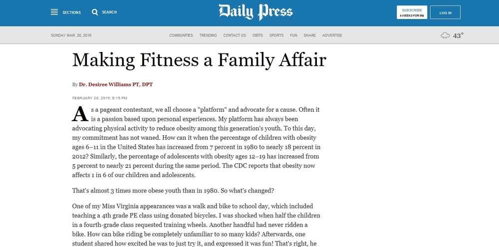 Making Fitness a Family Affair   By Dr. Desiree Williams PT,DPT