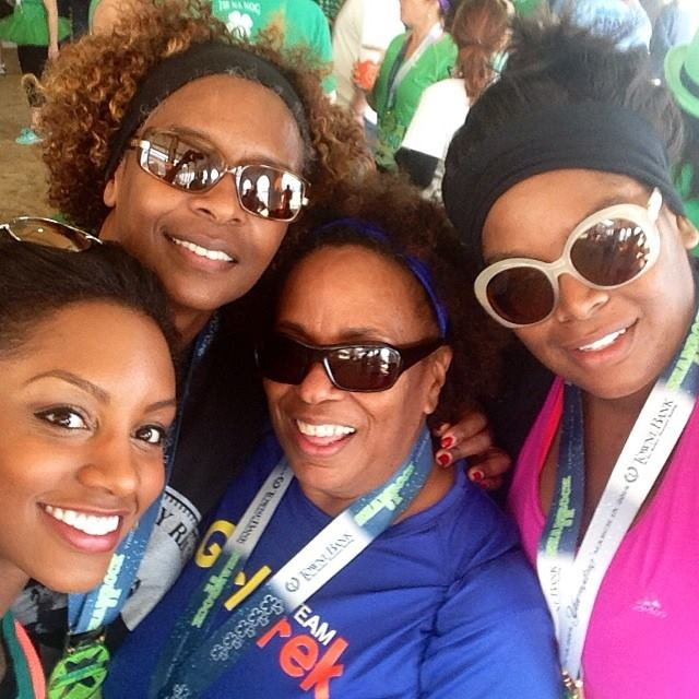My mother, aunt, sister (from L to R) and me after completing the  Shamrock 8k  in Virginia Beach.