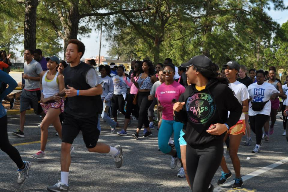 Running with classmates at  Hampton University's Annual HU 5k by the Bay.
