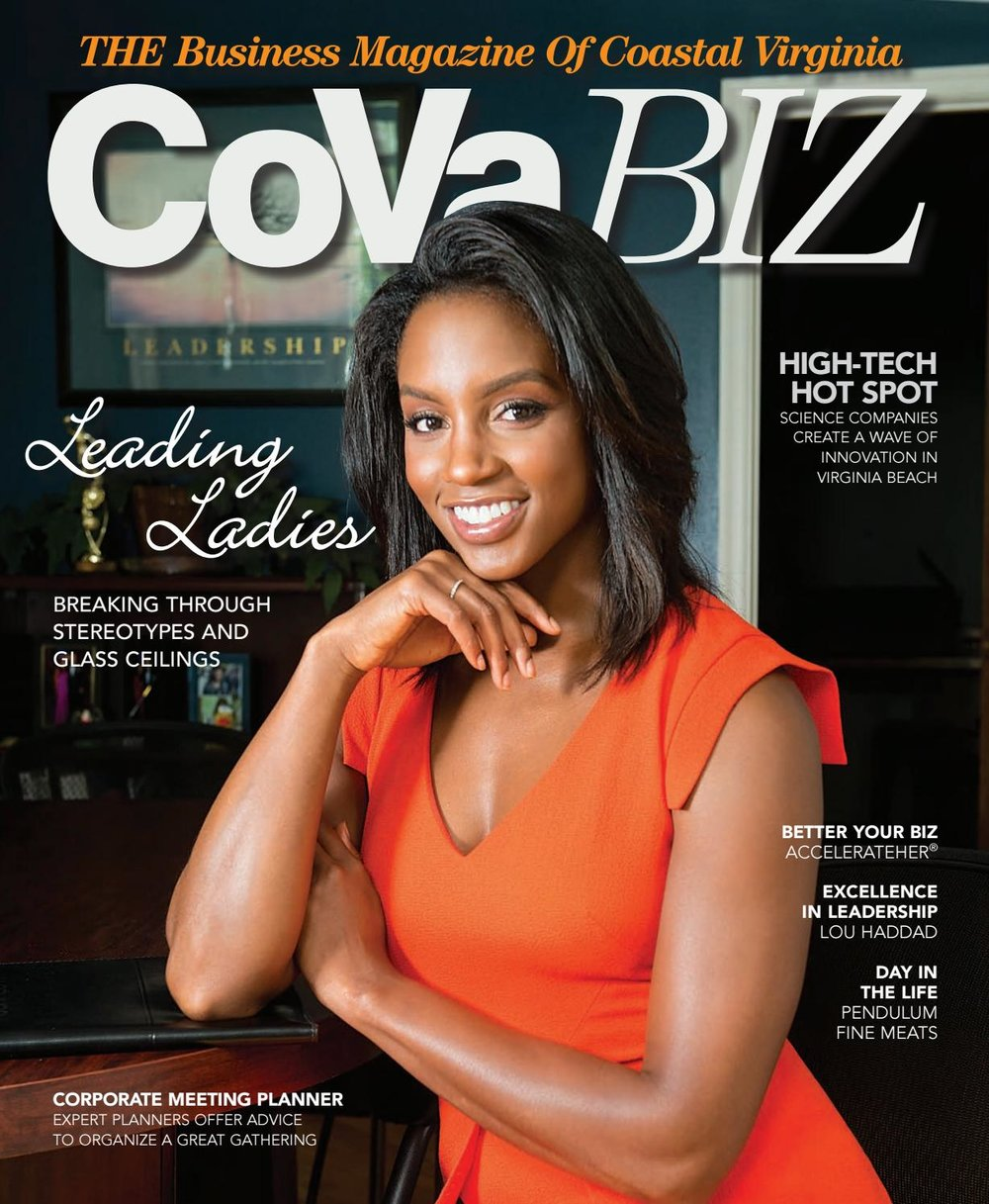 Desi on the cover of the August/September edition of  CoVA Biz  Magazine