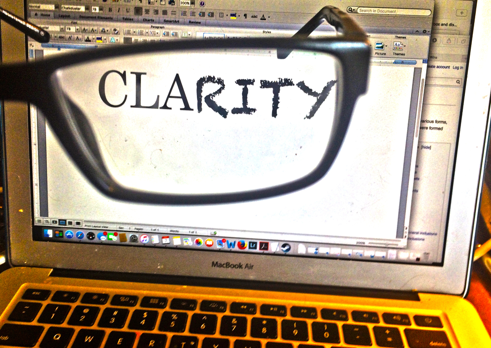 ILLUSTRATION. Clarity seen through a smudged pair of reading glasses. (c) Tony Winton 2016