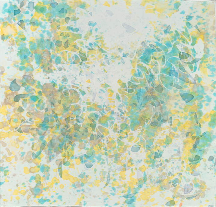 """Fragmenting, 44"""" x 44"""", painting on silk, 2012. SOLD  Available as giclée ."""