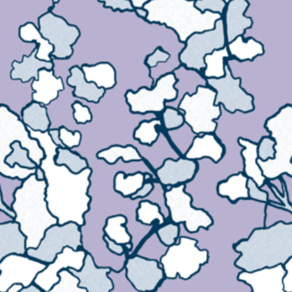 Floral Lines-Lilac and Indigo