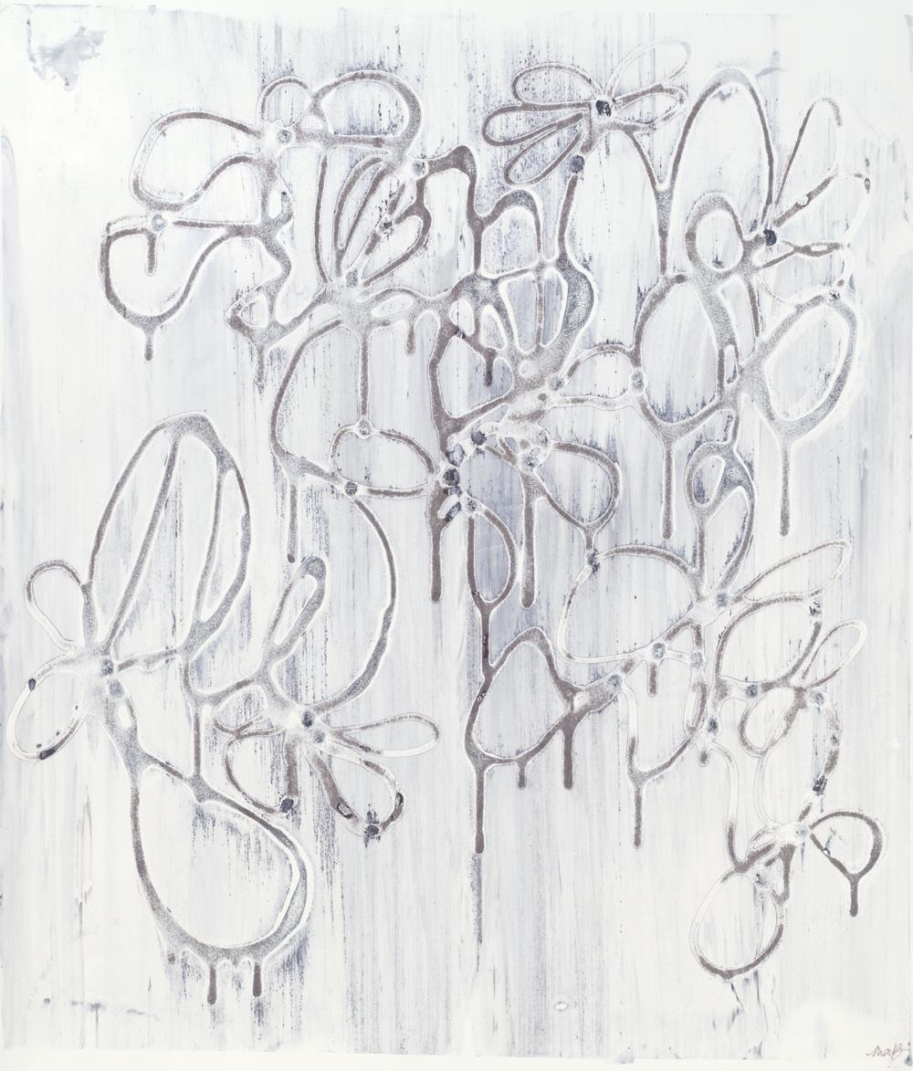 "Smoke Rings, 22"" x 30"", Silkscreen painting on paper, 2014."