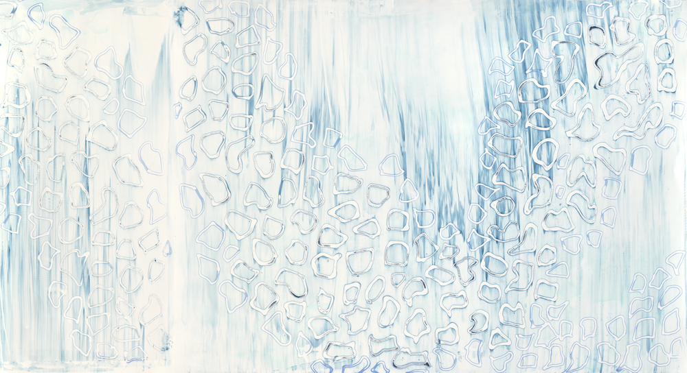 "Azurite, 29"" x 52"", Silkscreen painting on paper, 2015."