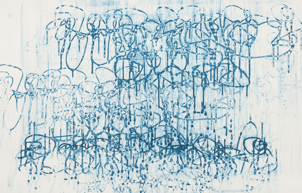 "Blue Drip III, 32"" x 52"", Silkscreen painting on paper, 2016."