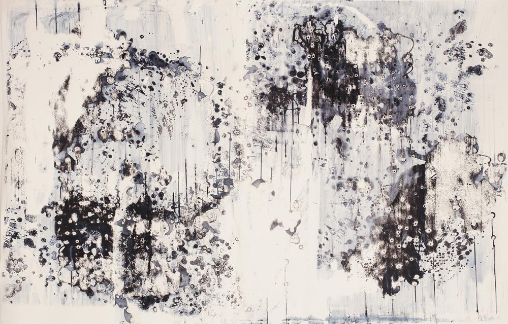 "Blind Spot, 42"" X 64"", Silkscreen painting on paper, 2016. SOLD"