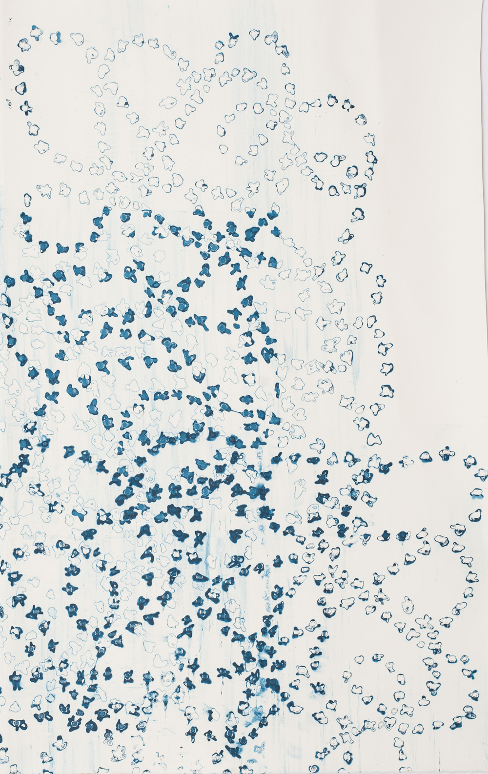 "Royal Dot Blue I, 31"" x 52"", Silkscreen painting on paper, 2016. SOLD"