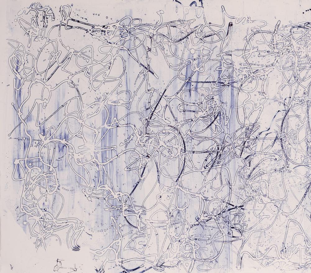 "Graffiti I, 32"" x 34"", Silkscreen painting on paper, 2015."