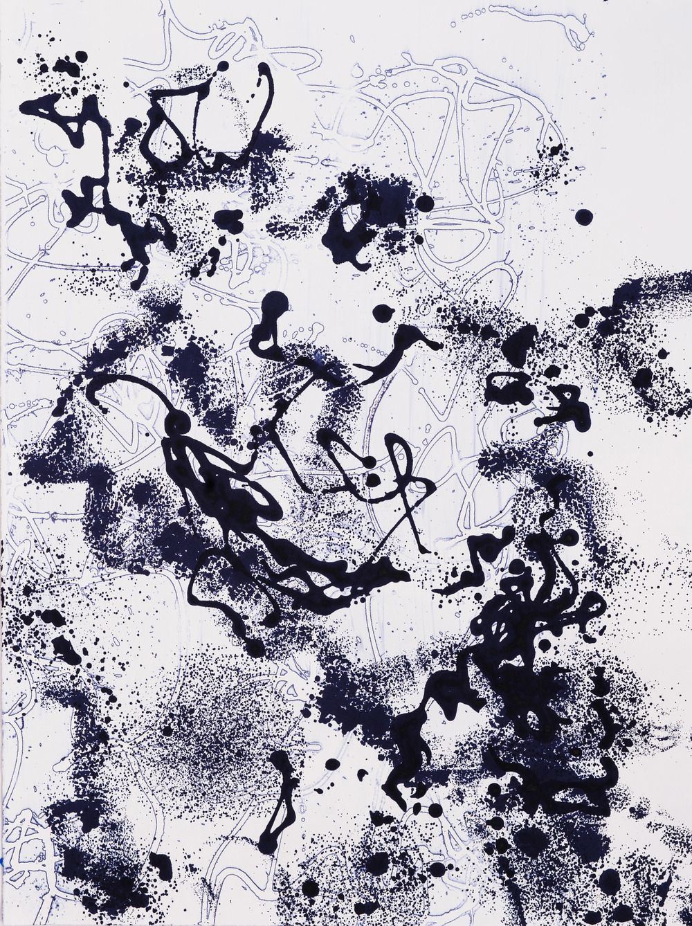 "Graffiti III, 22"" x 30"", Silkscreen painting on paper, 2015. SOLD"