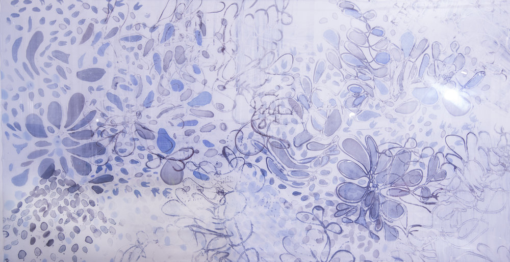 "Night Blooms, 52"" x 96"", painting on silk, 2016. SOLD"