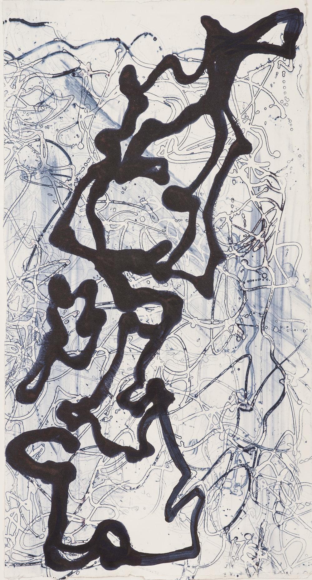 "Graffiti IV, 17"" X 31"", silkscreen painting on paper, 2016"