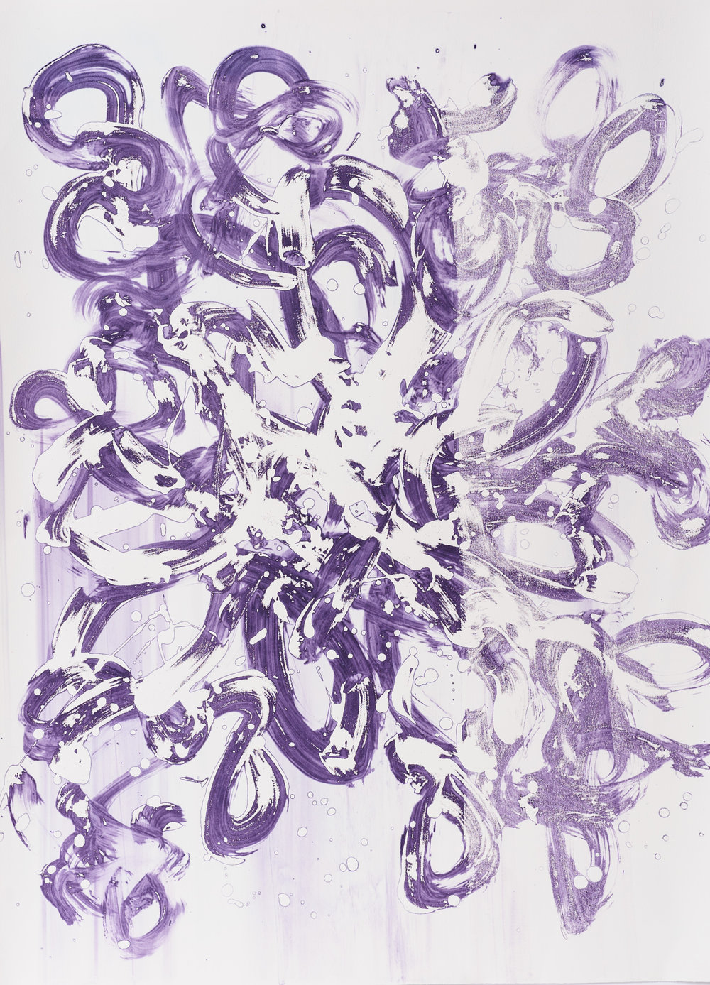 "Purple Rain II 22"" X 30"", silkscreen painting on paper, 2017"