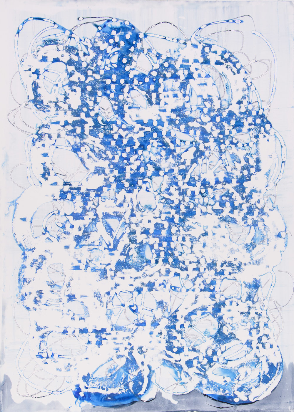 Blue Yonder I, 33X43. Silkscreen painting on paper, 2017.