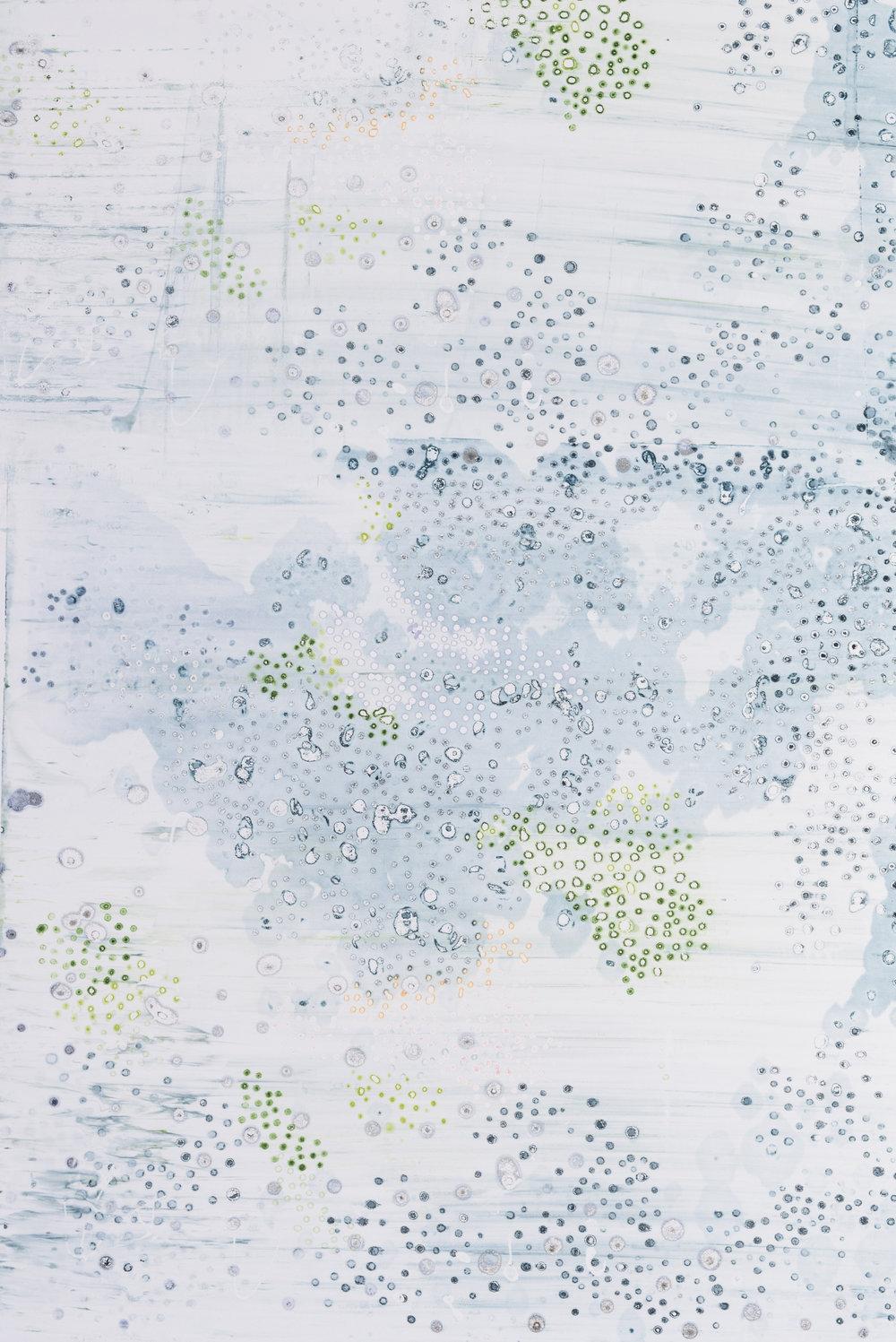 Pebble Beach V, 42X75. Silkscreen painting on paper, 2017.