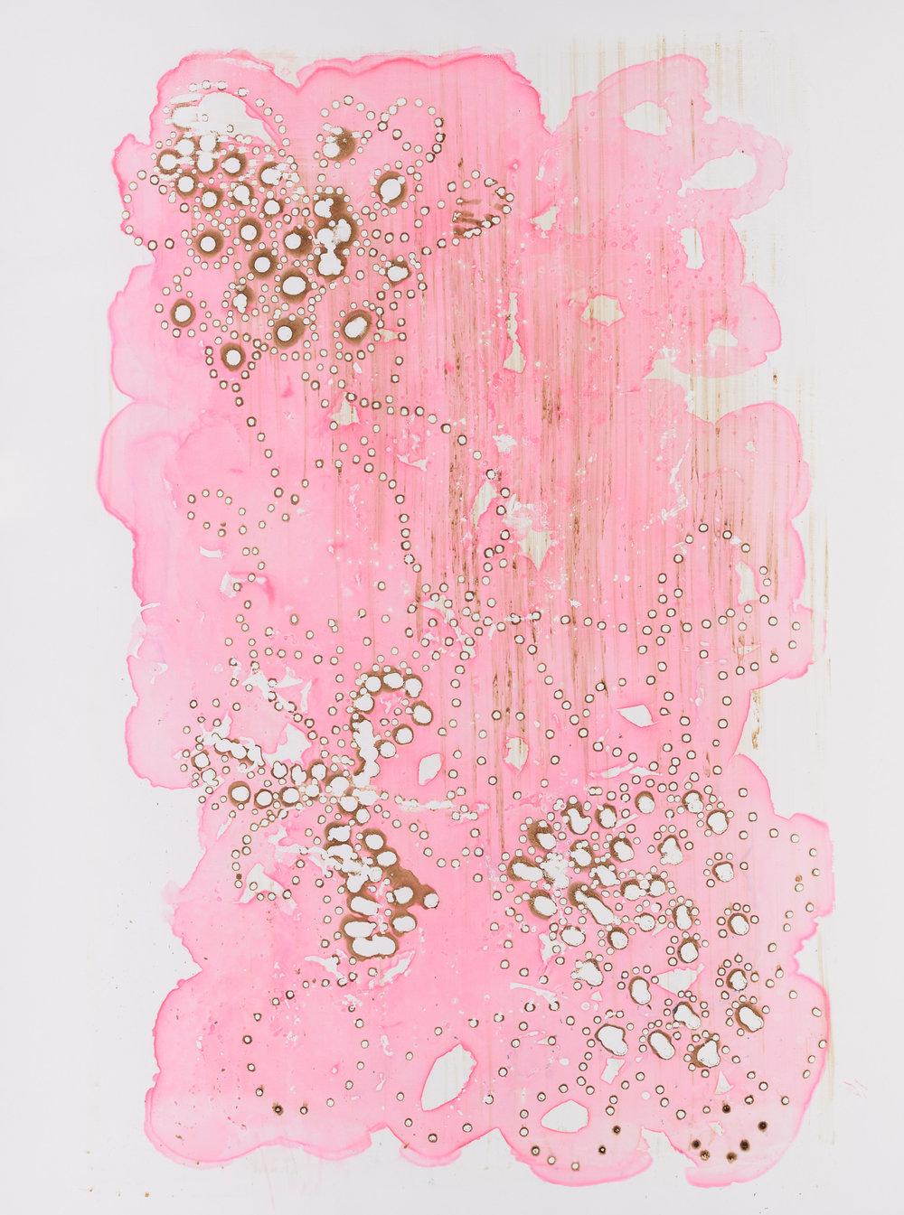 "Night Owl, 36""X51"". Silkscreen painting on paper, 2017."