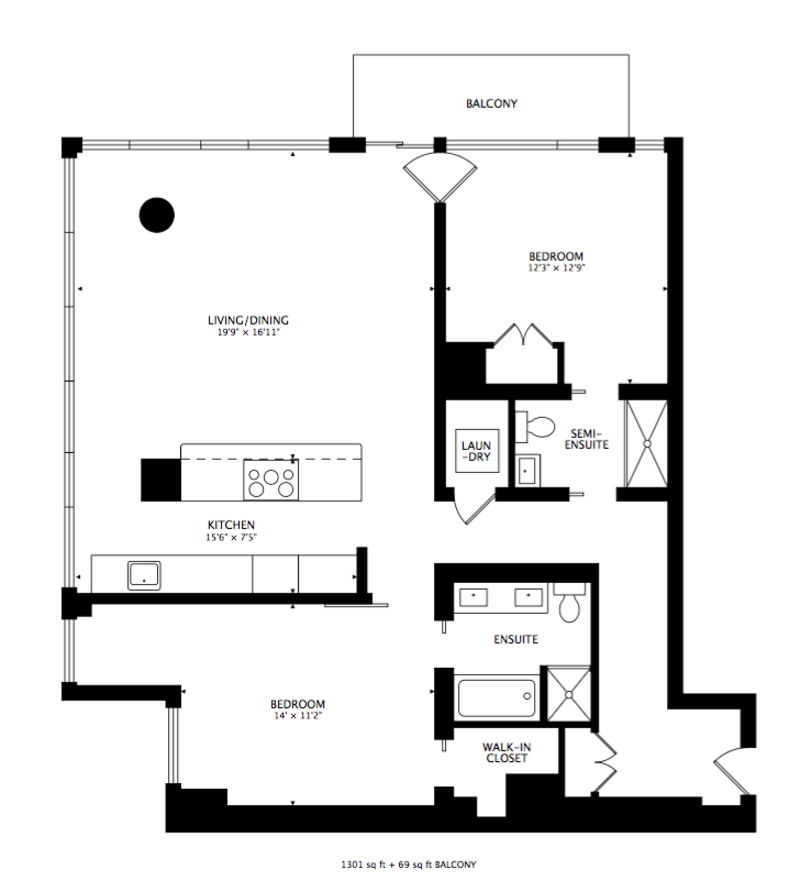 Floorplan of 29 Queens Quay E #822