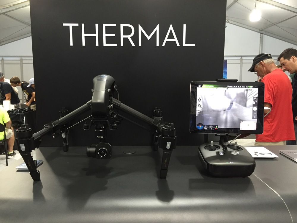 DJI Inspire with FLIR thermal imaging - on display at Multicopter Warehouse's booth.