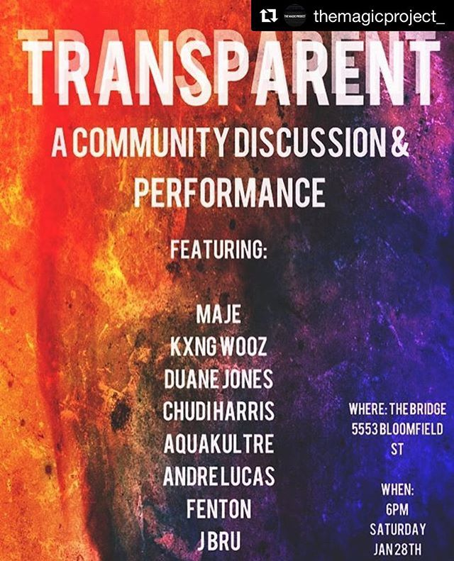 #Repost  @themagicproject_  Come thru @thebridgehfx on Saturday starting at 6pm for some much needed conversation ft a panel of Kings. Followed by some insane performances. Featuring visual notes and live art. Come out and be a part of the change and conversation. The admission is PWYC and will going directly to the artists! #betransparent #themagicproject #ourvoicescount #letsmakenoise