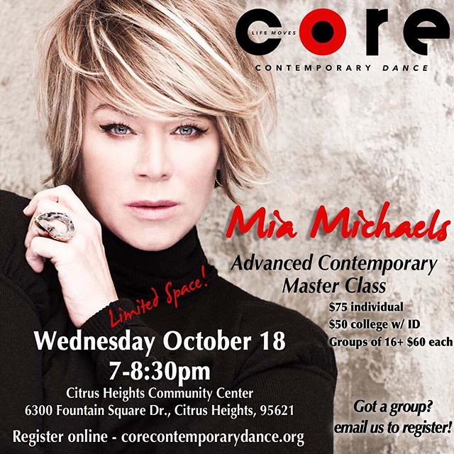 Join us for this once in a lifetime opportunity for a Master Class with the incredible @miamichaels ! CORE will be hosting this legends for an open community class that YOU can join! Visit our website www.corecontemporarydance.org for more information and to reserve your spot! . . . . . #sacramento_life #SacCulture #sacramento365 #visitsacramento #sacmag #igerssac #dance #corecontemporarydance #contemporary #core #contemporarydance #photography #dancephotography #sacramento #folsom #sac