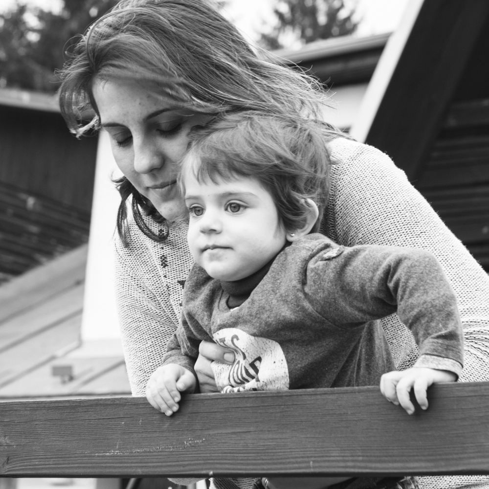 Mariam and her daughter outside the cabin. Czechia, February 2016.