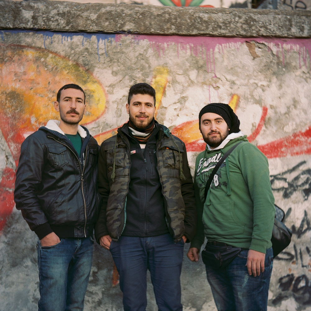 Rami, Mohammad, & Khaled at Mytilene Port. Lesvos, Greece. February 2016.