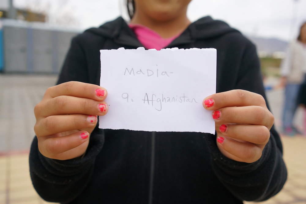 Madia, age 9, Afghanistan  Favourite colour: Yellow  Favourite food: Mantou (Rice)  Favourite subject: English  Wants to be: A Doctor