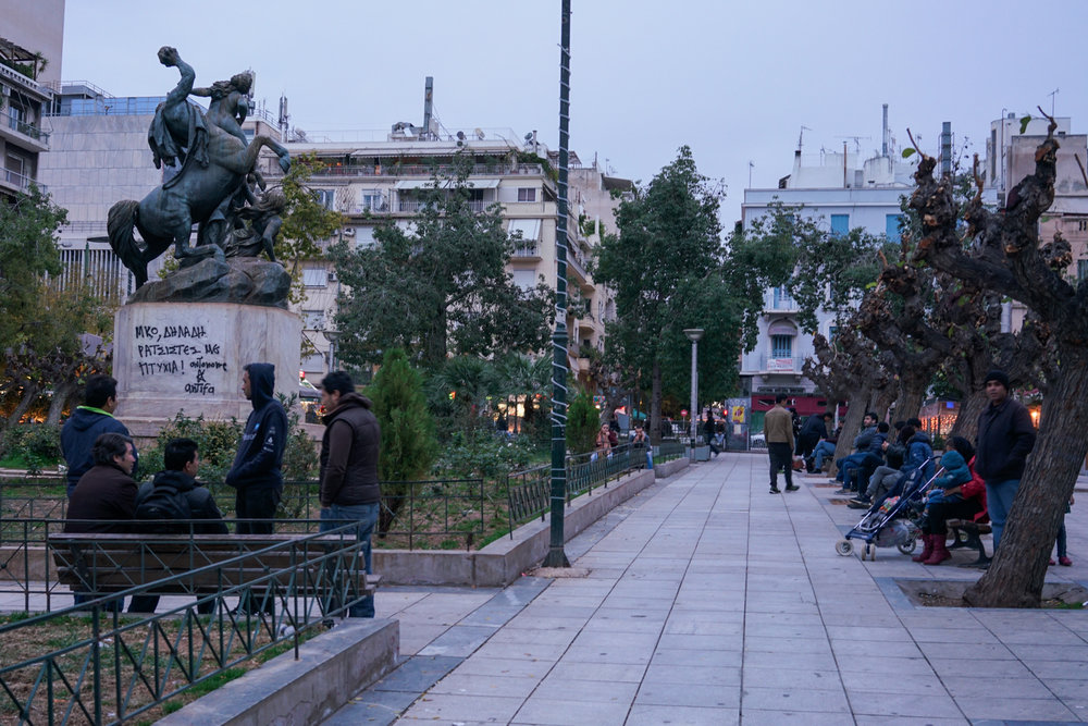 Victoria Square, Athens, where crowds of refugees gathered and camped out in the summer of 2015.