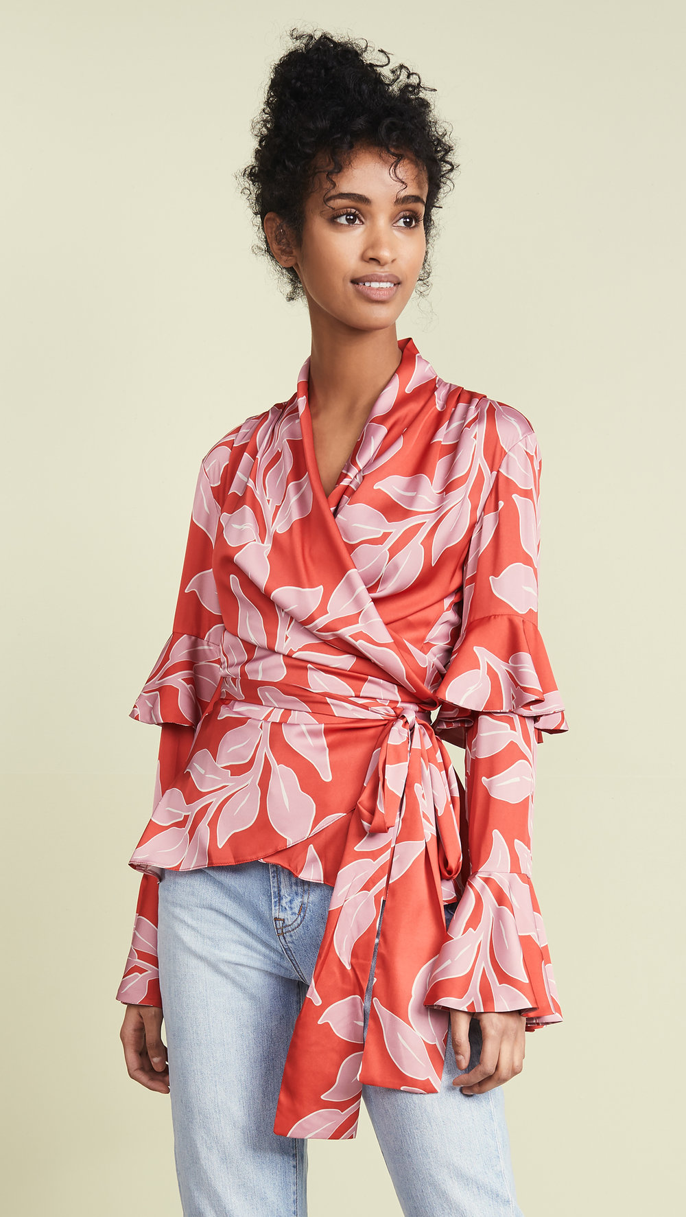 Leaf Print Ruffle Sleeve Wrap Top