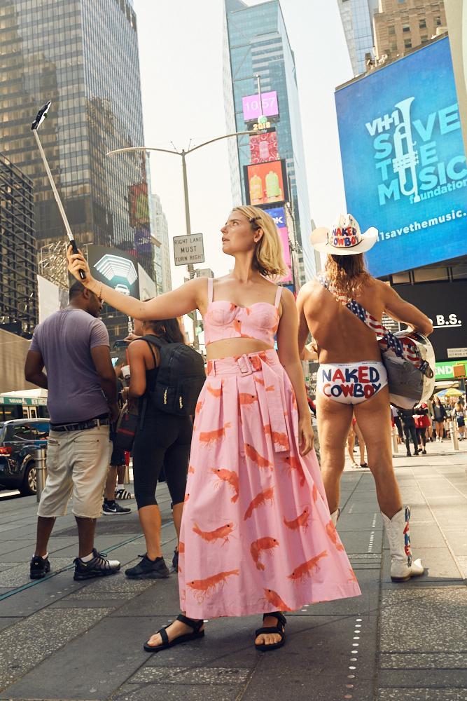 Rachel Antonoff Vinita Pleated Prawn Skirt