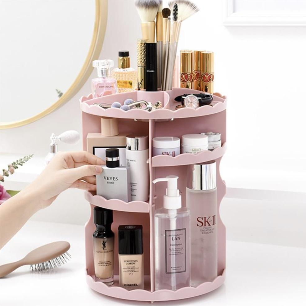 Hiier Living Revolve Round Frilled Beauty Organizer