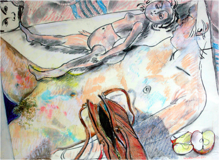 Naked doll resting on a drawing  , Robin Wallace Crabbe, oil pastel