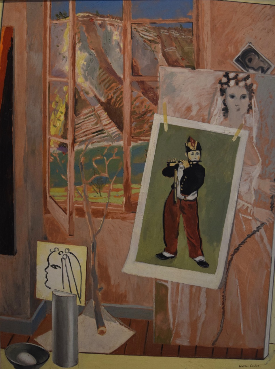 Gippsland studio with Manet fifer , oil paint on canvas, 1974
