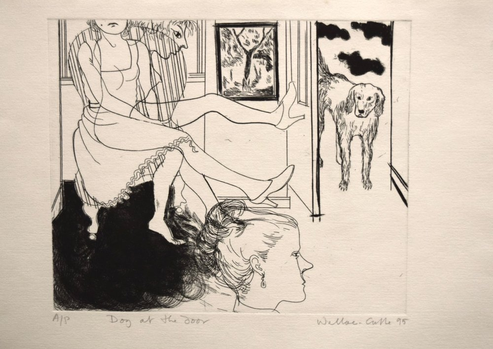 Dog at the door , etching, ink on paper, 1995