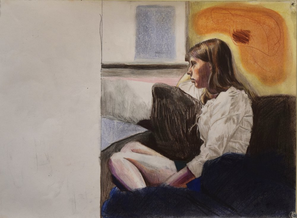 In thought , Jay Davies, coloured pencil and pastel, 2018
