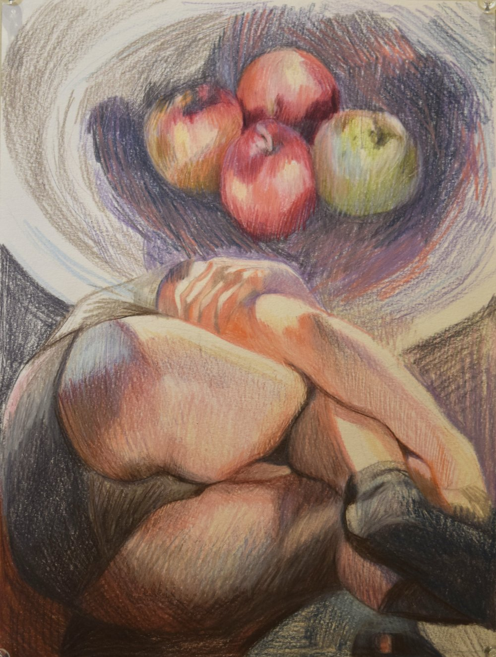Apples (still life) , Jay Davies, coloured pencil, 2018