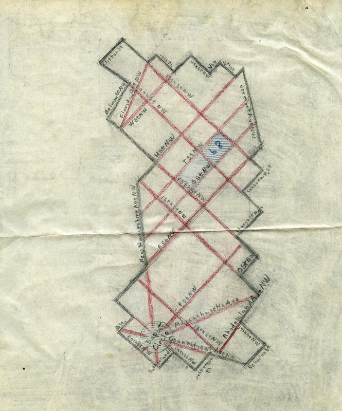 Area 35, the area east of Dupont Circle, as drawn by Wymer in 1949. Image courtesy of Historical Society of Washington, DC.