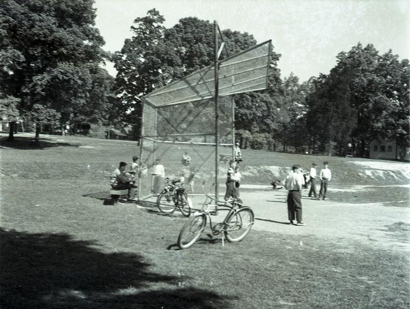 Boys playing baseball, Takoma Park Playground, Van Buren Street at 4th Street NW, ca. 1948