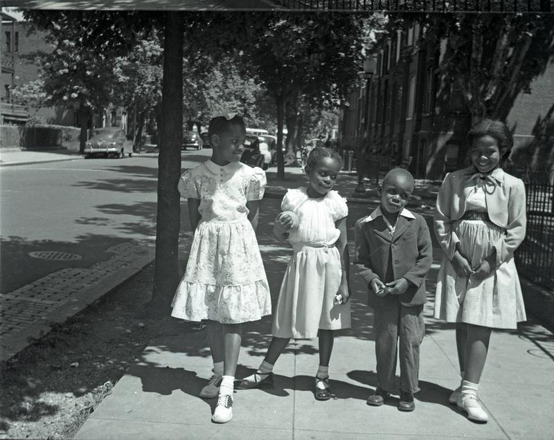 Children on sidewalk on 6th Street NE near G Street, ca. 1949