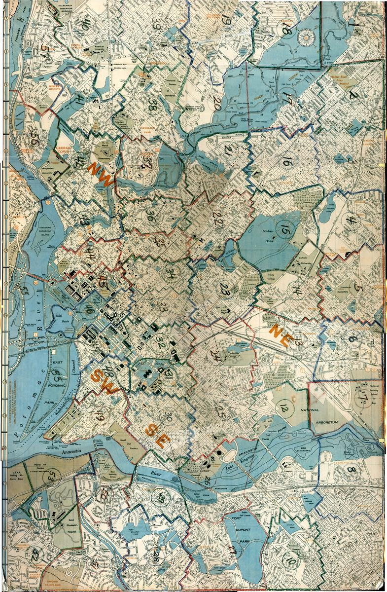 The areas of the city, as divided by Wymer. Image courtesy of the Historical Society of Washington, DC.