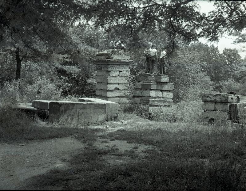 "Boys playing on ""ruins"" in Fort Totten Park, ca. 1948"