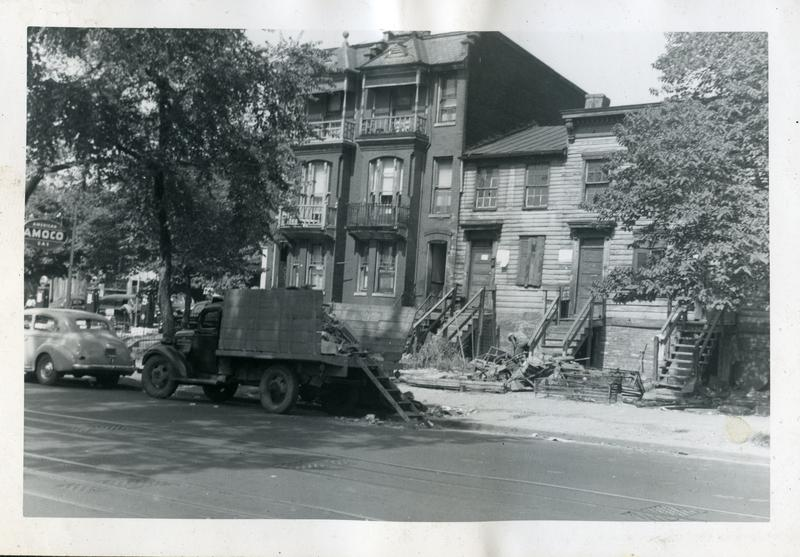 Old houses in the 300 block of New York Avenue NW, ca 1949