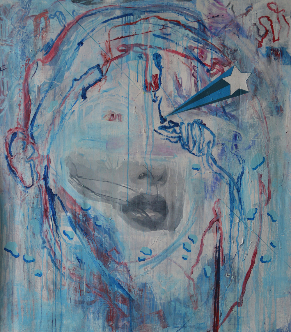 STARBUSTING   2013 Acrylic and pastel on canvas 56 x 50 in 142.2 x 127 cm