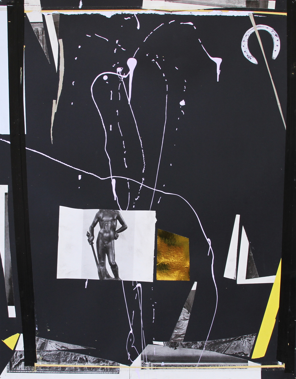 ARRANGEMENT   2016 Acrylic, collage, aluminium and tape on paper 28 x 22 in 71 x 56 cm