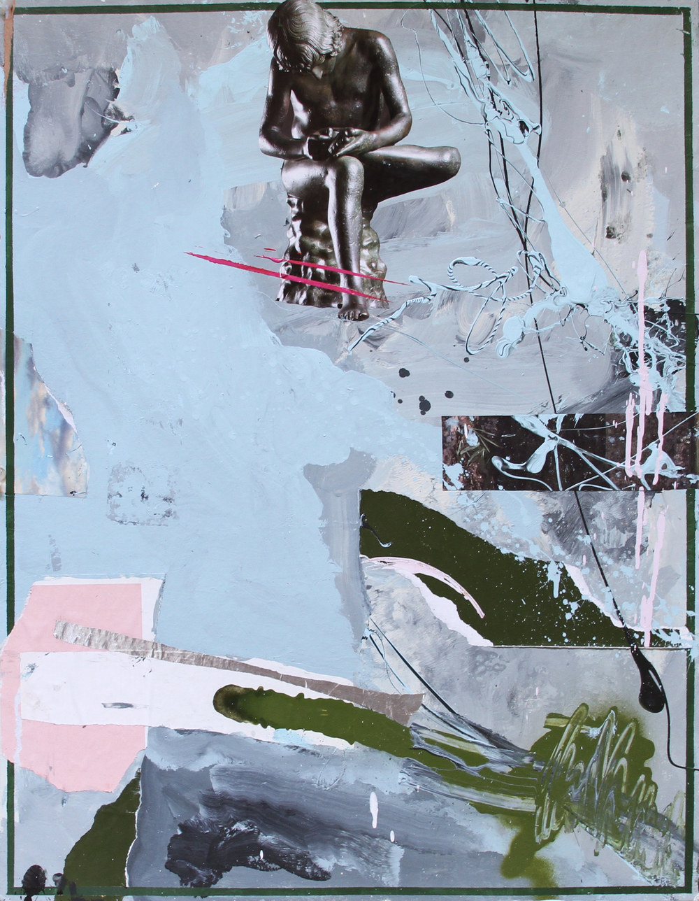 ARRANGEMENT 06 / SPLINTER   2015 Acrylic, collage and aluminium on paper 28 x 22 in 71 x 56 cm