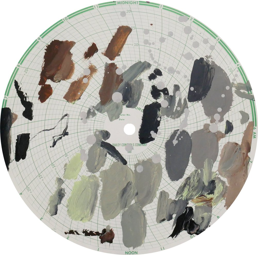 Midnight Recorder (2402)   Acrylic on paper 11.1 in diameter 28.2 cm diameter