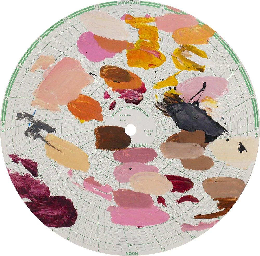 Midnight Recorder (2401)   Acrylic on paper 11.1 in diameter 28.2 cm diameter