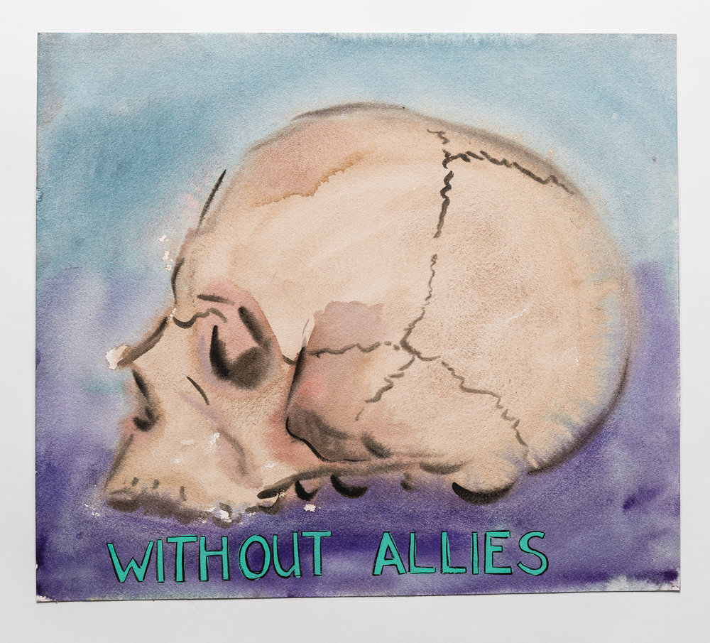 Without Allie s 2015 watercolor, gouache and ink on paper, 2015 14x16""