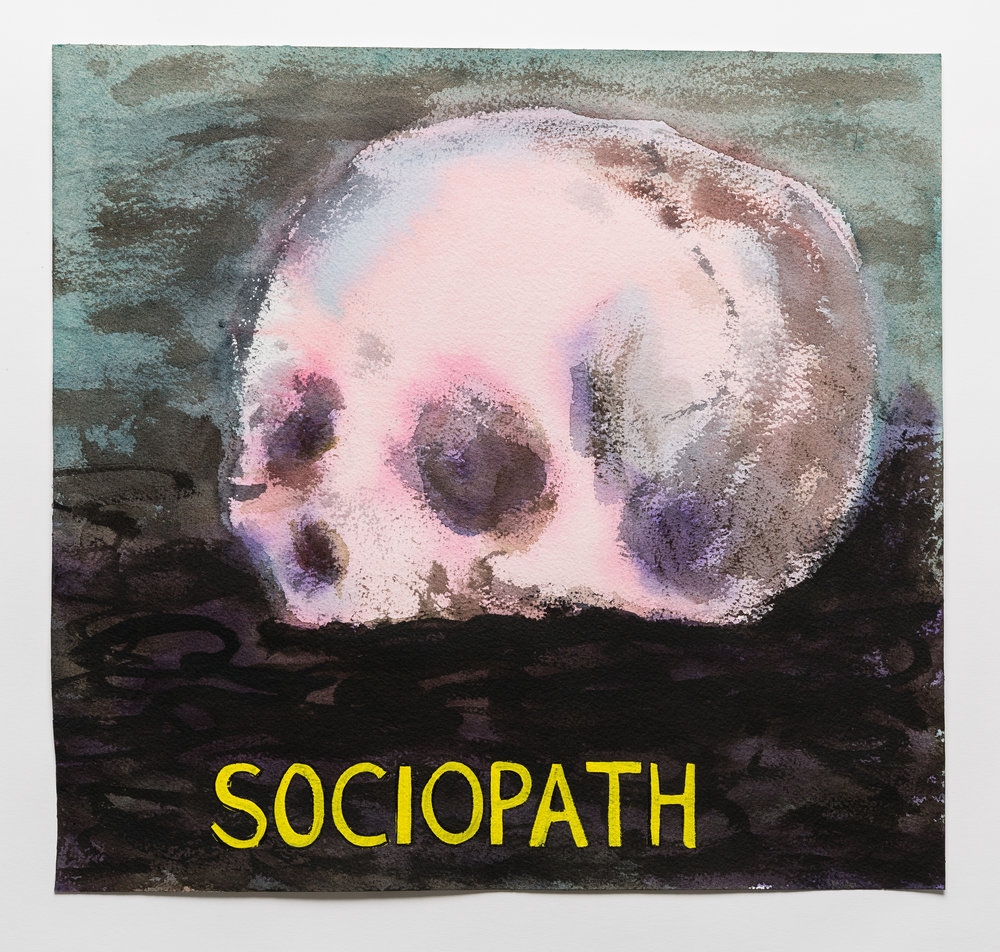 Sociopath   2015   watercolor, gouache and ink on paper 15x16""